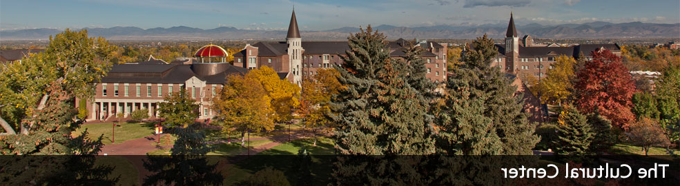 panoramic view of campus buildings with The Cultural Center wording across bottom
